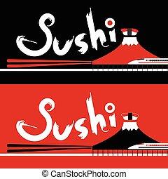 restaurant, menu, sushi, japonaise, conception, calligraphie