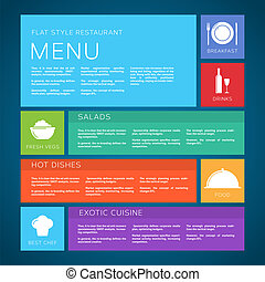 Restaurant Menu Template Vector Flat Style