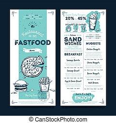 restaurant menu, vector, mal, koffiehuis, ontwerp