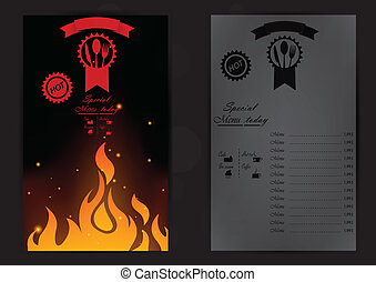 Restaurant menu with a price list