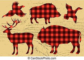 restaurant menu with pheasant, boar, bison, deer, duck -...