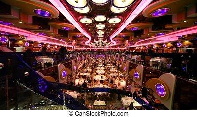 restaurant, met, velen, mensen, binnen, op, rijd lijntoestel...