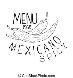Restaurant Mexican Food Menu Promo Sign In Sketch Style With...
