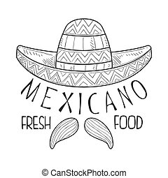 Restaurant Mexican Fresh Food Menu Promo Sign In Sketch ...