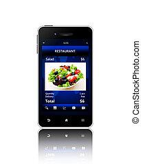 restaurant, mobile, sur, isolé, ordre, téléphone, fond, plat à emporter, blanc écran