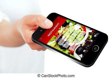 restaurant, mobile, sur, isolé, ordre, téléphone, plat à emporter, écran