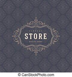 restaurant, mode, magasin, elements., ornement, calligraphic, élégant, flourishes, boutique, café, identité, gabarit, logo, conception, etc., ou, magasin