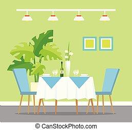 restaurant, montage dîner, intérieur, table, conception