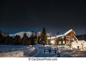 restaurant, montagne, neige
