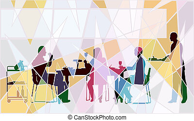 Restaurant mosaic - Colorful editable vector mosaic design ...