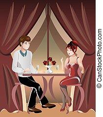 restaurant., nő, ember