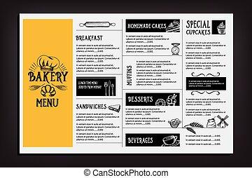 restaurant, nourriture, flyer., menu, gabarit, café, design.