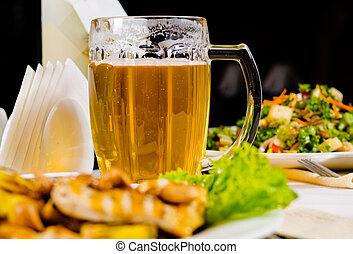 restaurant, nourriture, grande tasse, plaqué, bière, table