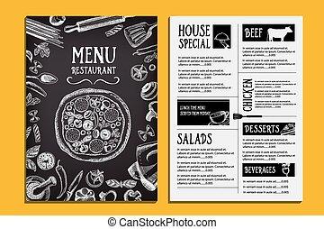restaurant, nourriture, menu, conception, brochure., café, template.