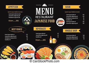 restaurant, nourriture, menu, japonaise, conception, gabarit, brochure