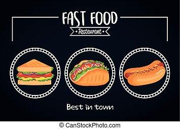 restaurant, nourriture, menu, jeûne, délicieux, carte