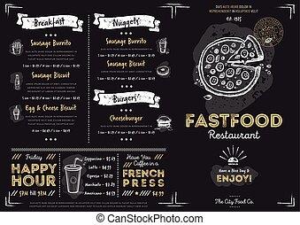 restaurant, nourriture, menu, jeûne, gabarit, café