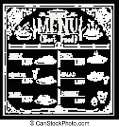 restaurant, nourriture, menu, main, conception, retro, dessiné
