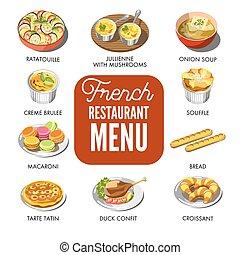 restaurant, nourriture, menu, national, francais, inclut, traditionnel, seulement