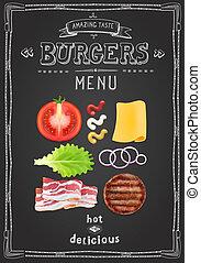 restaurant, nourriture, tableau noir, menu, hamburgers, conception, gabarit, café