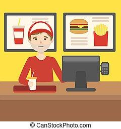 restaurant, nourriture, travail, jeûne, vecteur, dessin animé