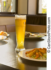 restaurant, nourriture, verre, bière, table, grand