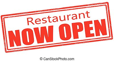 Restaurant now open - Stamp with text restaurant now open...