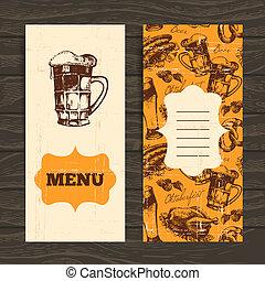 restaurant, oktoberfest, illustration., dessiné, menu, main, arrière-plan., bière, conception, retro, vendange, café, bar.