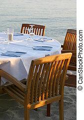 Restaurant on a beach - View of an empty table of a beach...
