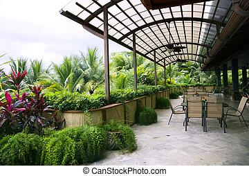 Restaurant on an open verandah in a modern luxury hotel in Costa Rica, Central America