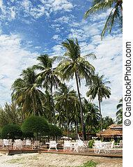 Restaurant on a sandy beach of Langkawi island, Malaysia