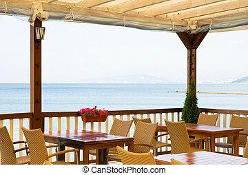 Restaurant on the beach, sea and sky