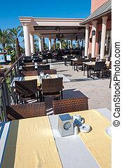 Restaurant on the sundeck at Turkish hotel