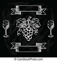 Restaurant or bar wine list on chalkboard background.