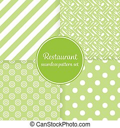 Restaurant or bistro theme. Lush green stripes, dots, cutlery and other shapes. Seamless vector pattern background set