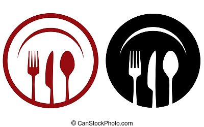 cafe icons with fork, knife, spoon, plate