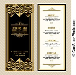 Restaurant or cafe menu design template with vintage retro art deco frame style