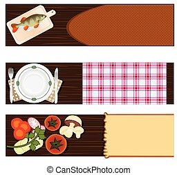restaurant or cooking banner set
