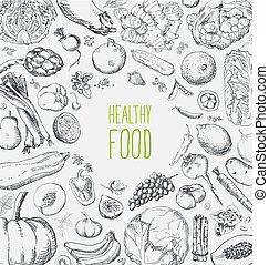 Restaurant organic natural vegan Food Menu set Vintage Design with Chalkboard