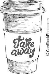restaurant, ouderwetse , schets, kop, doodle, takeaway koffie, hand, papier, koffiehuis, menu, getrokken, coffeehouse, bar