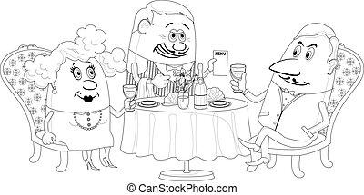 restaurant, paar, vrijstaand, omtrek, tafel