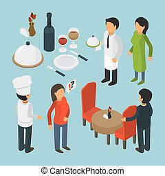 Restaurant people isometric. Cafe person event luxury lifestyle waiter food 3d vector pictures