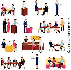Restaurant People Situations Flat Icons Set - People in...