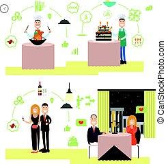 Restaurant people vector illustration in flat style