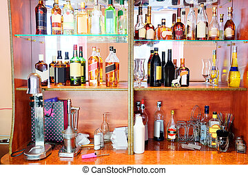 restaurant - Assorted colorful bottles of alcoholic drinks...
