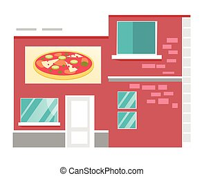 restaurant, pizzeria, vecteur, illustration., dessin animé