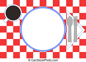 Red checkered tablecloth, plate, spoon, fork, napkin, and a cup of coffee. All viewed as if from above looking down. Cup, plate, and napkin are trimmed in blue.