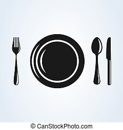 Restaurant plate with cutlery flat style. icon isolated on white background. Vector illustration
