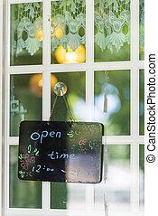 restaurant., porte, business, heure, signe, pendre