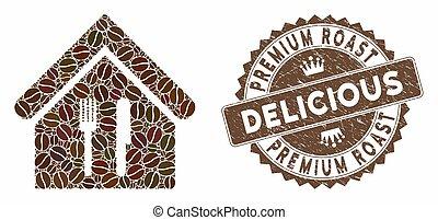 restaurant, prime, délicieux, timbre, détresse, café, rôti, mosaïque